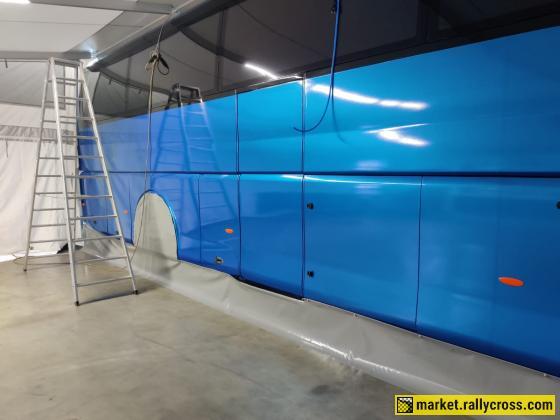 Scania Irizar Racebus and Eurowagon trailer