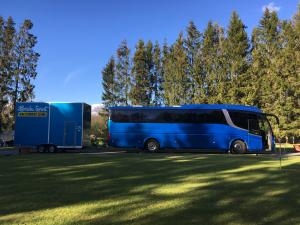 Scania Irizar Racebus and Eurowagon trailer