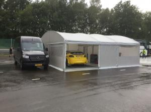 MOTORSPORT TRIALER WITH LIVING AND STEGMAIER TENT.